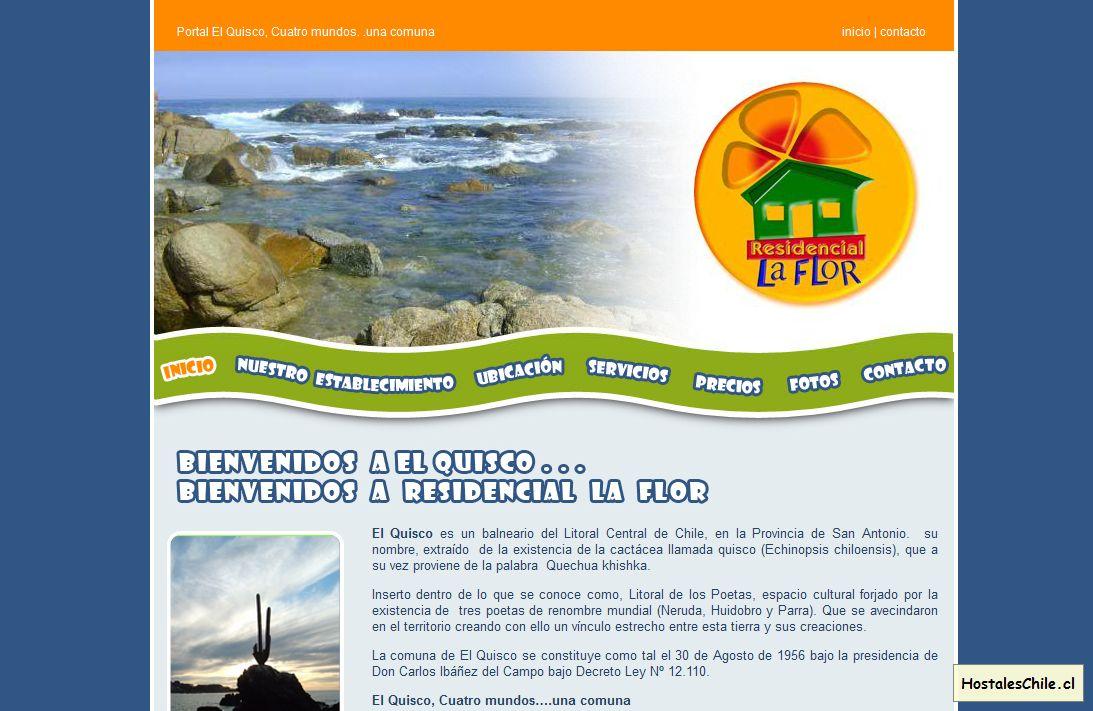 Hostales y Residenciales Chile - 'Bienvenidos a Residencial La Flor - EL Quisco' - www_residenciallaflor_cl