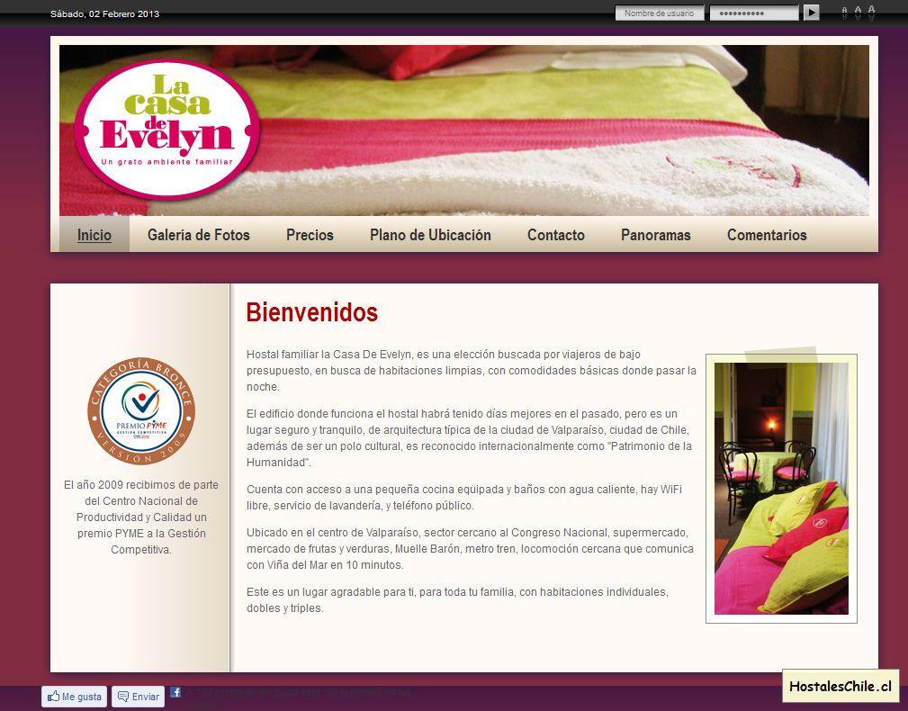Hostales y Residenciales Chile - 'Bienvenidos' - www_casaevelyn_cl_sitio