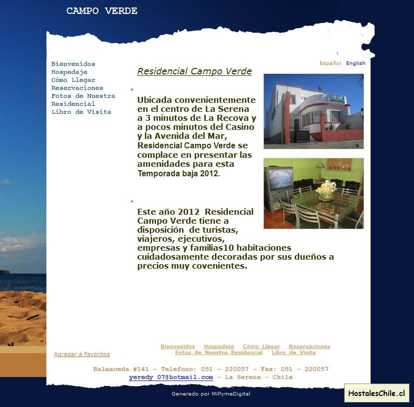 Hostales y Residenciales Chile - 'CAMPOVERDE I Residencial La Serena - alojamiento en la serena' - www_residencialcampoverde_com_es_bienvenidos_php