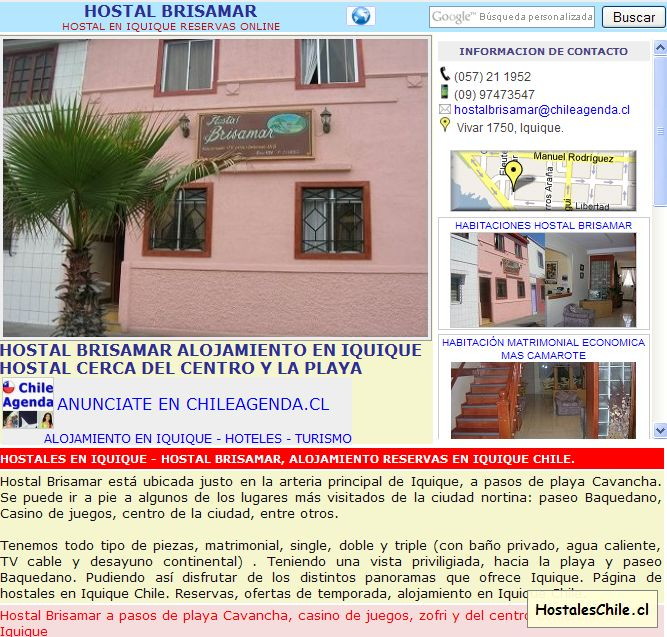 Hostales y Residenciales Chile - 'HOSTAL BRISAMAR IQUIQUE - WWW_CHILEAGENDA_CL' - www_chileagenda_cl_hostal-brisamar_htm