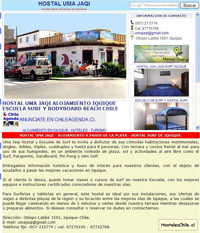 Hostales y Residenciales Chile - 'HOSTAL UMA JAQI, Hostal en Iquique, reservas alojamiento' - www_chileagenda_cl_hostal-uma-jaqi_htm