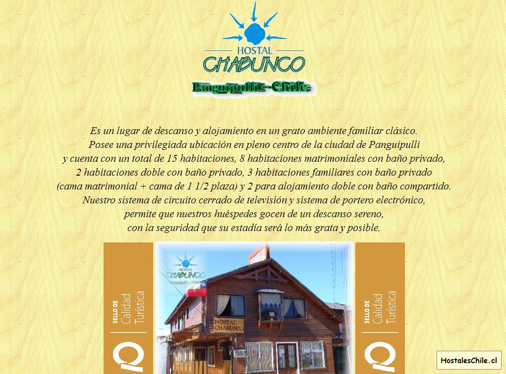 Hostales y Residenciales Chile - 'Hostal CHABUNCO' - www_chabunco_cl