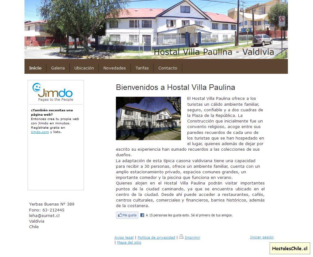 Hostales y Residenciales Chile - 'Inicio - Hostal Villa Paulina - Valdivia' - hostalvillapaulina_jimdo_com