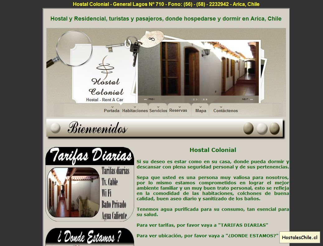 Hostales y Residenciales Chile - '__ Hostal Colonial __ Hostal y Residencial' - www_hostalcolonial_cl