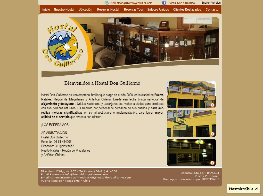 Hostales y Residenciales Chile - 'Hostal Don Guillermo - Puerto Natales - Patagonia - Chile' - www_hostaldonguillermo_com_indexes_html
